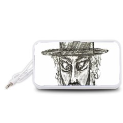 Man With Hat Head Pencil Drawing Illustration Portable Speaker (White)
