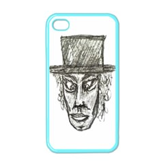 Man With Hat Head Pencil Drawing Illustration Apple iPhone 4 Case (Color)