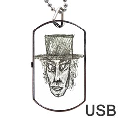 Man With Hat Head Pencil Drawing Illustration Dog Tag USB Flash (Two Sides)