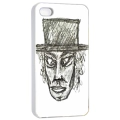 Man With Hat Head Pencil Drawing Illustration Apple iPhone 4/4s Seamless Case (White)