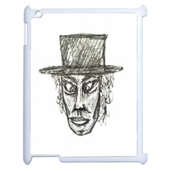Man With Hat Head Pencil Drawing Illustration Apple iPad 2 Case (White)