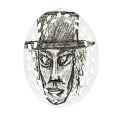 Man With Hat Head Pencil Drawing Illustration Oval Filigree Ornament (2-Side)