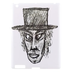 Man With Hat Head Pencil Drawing Illustration Apple iPad 3/4 Hardshell Case