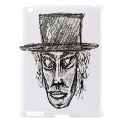 Man With Hat Head Pencil Drawing Illustration Apple iPad 3/4 Hardshell Case (Compatible with Smart Cover)