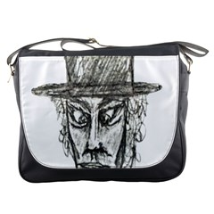 Man With Hat Head Pencil Drawing Illustration Messenger Bags