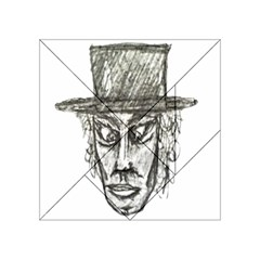 Man With Hat Head Pencil Drawing Illustration Acrylic Tangram Puzzle (4  x 4 )