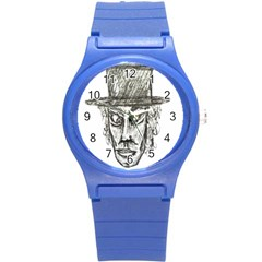Man With Hat Head Pencil Drawing Illustration Round Plastic Sport Watch (S)