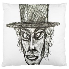 Man With Hat Head Pencil Drawing Illustration Large Cushion Case (Two Sides)