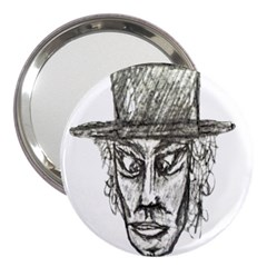 Man With Hat Head Pencil Drawing Illustration 3  Handbag Mirrors