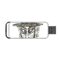 Man With Hat Head Pencil Drawing Illustration Portable USB Flash (One Side)