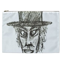Man With Hat Head Pencil Drawing Illustration Cosmetic Bag (XXL)