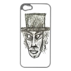 Man With Hat Head Pencil Drawing Illustration Apple iPhone 5 Case (Silver)