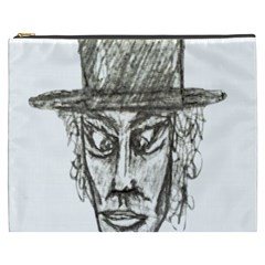 Man With Hat Head Pencil Drawing Illustration Cosmetic Bag (XXXL)