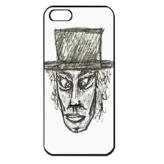 Man With Hat Head Pencil Drawing Illustration Apple iPhone 5 Seamless Case (Black)