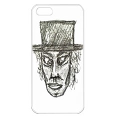 Man With Hat Head Pencil Drawing Illustration Apple iPhone 5 Seamless Case (White)