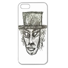 Man With Hat Head Pencil Drawing Illustration Apple Seamless iPhone 5 Case (Clear)