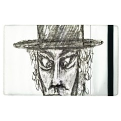 Man With Hat Head Pencil Drawing Illustration Apple iPad 2 Flip Case