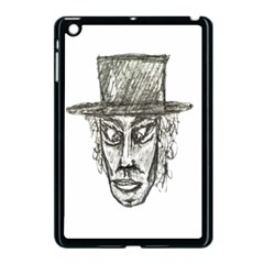 Man With Hat Head Pencil Drawing Illustration Apple iPad Mini Case (Black)