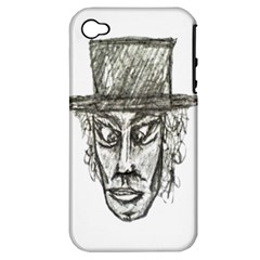 Man With Hat Head Pencil Drawing Illustration Apple iPhone 4/4S Hardshell Case (PC+Silicone)