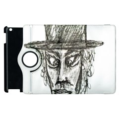 Man With Hat Head Pencil Drawing Illustration Apple iPad 2 Flip 360 Case