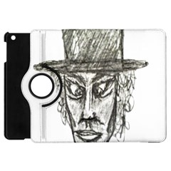 Man With Hat Head Pencil Drawing Illustration Apple iPad Mini Flip 360 Case