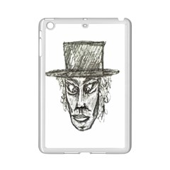 Man With Hat Head Pencil Drawing Illustration iPad Mini 2 Enamel Coated Cases