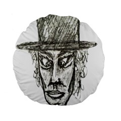 Man With Hat Head Pencil Drawing Illustration Standard 15  Premium Round Cushions