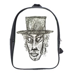 Man With Hat Head Pencil Drawing Illustration School Bags (XL)