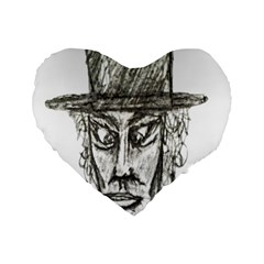 Man With Hat Head Pencil Drawing Illustration Standard 16  Premium Heart Shape Cushions