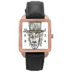 Man With Hat Head Pencil Drawing Illustration Rose Gold Leather Watch