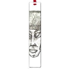 Man With Hat Head Pencil Drawing Illustration Large Book Marks