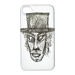 Man With Hat Head Pencil Drawing Illustration Apple iPhone 4/4S Hardshell Case with Stand