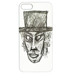Man With Hat Head Pencil Drawing Illustration Apple iPhone 5 Hardshell Case with Stand