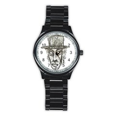 Man With Hat Head Pencil Drawing Illustration Stainless Steel Round Watch