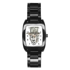 Man With Hat Head Pencil Drawing Illustration Stainless Steel Barrel Watch