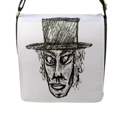 Man With Hat Head Pencil Drawing Illustration Flap Messenger Bag (L)