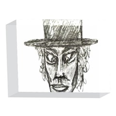 Man With Hat Head Pencil Drawing Illustration 5 x 7  Acrylic Photo Blocks