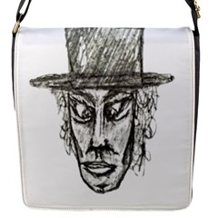Man With Hat Head Pencil Drawing Illustration Flap Messenger Bag (S)