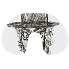 Man With Hat Head Pencil Drawing Illustration Travel Neck Pillows