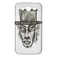 Man With Hat Head Pencil Drawing Illustration Samsung Galaxy Mega 5.8 I9152 Hardshell Case
