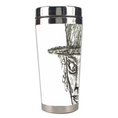 Man With Hat Head Pencil Drawing Illustration Stainless Steel Travel Tumblers