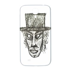 Man With Hat Head Pencil Drawing Illustration Samsung Galaxy S4 I9500/I9505  Hardshell Back Case