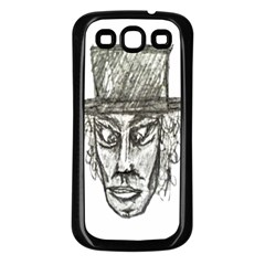 Man With Hat Head Pencil Drawing Illustration Samsung Galaxy S3 Back Case (Black)