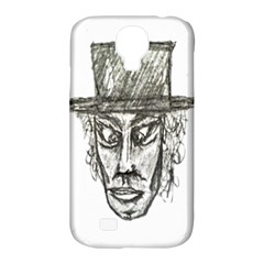 Man With Hat Head Pencil Drawing Illustration Samsung Galaxy S4 Classic Hardshell Case (PC+Silicone)