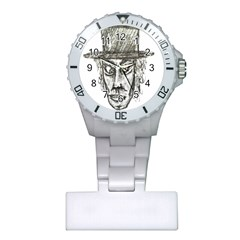 Man With Hat Head Pencil Drawing Illustration Plastic Nurses Watch