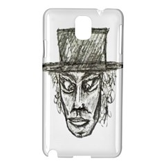 Man With Hat Head Pencil Drawing Illustration Samsung Galaxy Note 3 N9005 Hardshell Case
