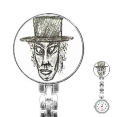Man With Hat Head Pencil Drawing Illustration Stainless Steel Nurses Watch