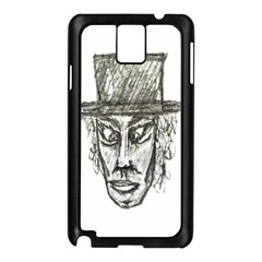 Man With Hat Head Pencil Drawing Illustration Samsung Galaxy Note 3 N9005 Case (Black)