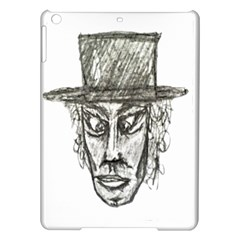 Man With Hat Head Pencil Drawing Illustration iPad Air Hardshell Cases