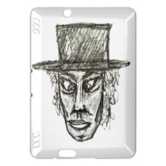 Man With Hat Head Pencil Drawing Illustration Kindle Fire HDX Hardshell Case